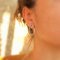 Large Tear Drop Beaded Studs Drop Post Earrings Everyday Studs Metalwork Sterling Silver