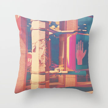 Stop Throw Pillow by Marie-Pier Cadorette