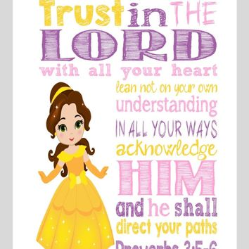 Belle Christian Princess Nursery Decor Wall Art Print - Trust in the Lord with all your heart - Proverbs 3:5-6 Bible Verse - Multiple Sizes