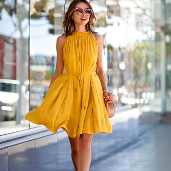Scoop Sleeveless Pockets Solid Lace Up Short Dress