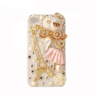 Handmade hard case for iPhone 4 & 4S: Bling Eiffel tower with ballet girl (customized arte welcome)