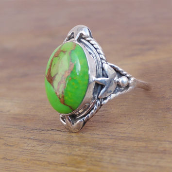 Sterling Silver Turquoise Ring,Green Copper Turquoise silver ring,Green Turquoise Ring,Natural Gemstone Ring,Turquoise Gemstone Ring Size7.5