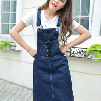 New stylish denim sundress dress summer female solid color adjustable straps