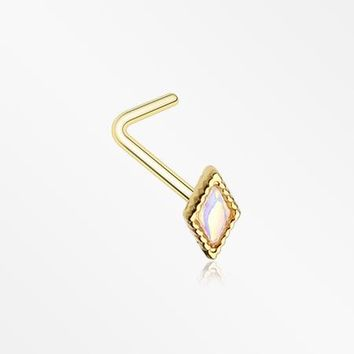 Golden Iridescent Revo Diamond Sparkle L-Shaped Nose Ring
