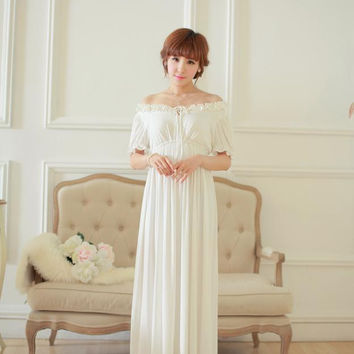 Free Shipping 2015 New Summer Comfortable Modal Nightgown Women's Long Pijamas White Sleepwear