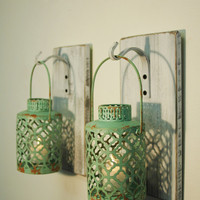 Shabby Chic Turqouise Lantern Pair on whitewashed wood board for unique wall decor, home decor, bedroom decor