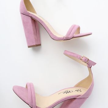 Bex Lilac Suede Ankle Strap Heels