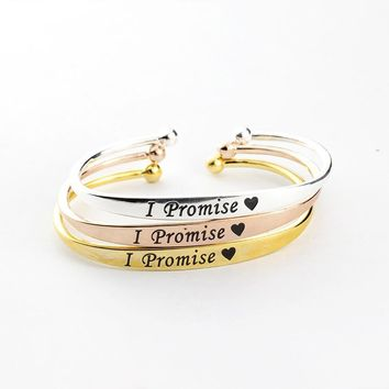 10pcs/lot I Will Always Love You Bracelets for Women 2017 Copper Bijoux Femme BFF Jewelry Adjustable I Promise Bangle Men Gift