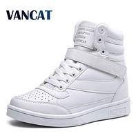 New Ankle Boots Heels Shoes Women Casual Sneaker Shoes Height Increased High Top Winter Boots