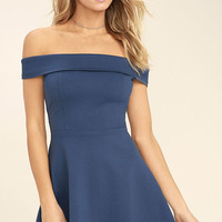Season of Fun Denim Blue Off-the-Shoulder Skater Dress