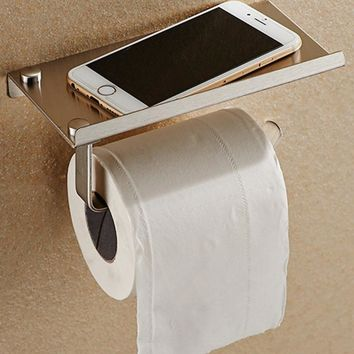 Bathroom Toilet Roll Paper Holder Wall Mount Stainless Steel Bathroom WC Paper Phone Holder with Storage Shelf Rack High Quality