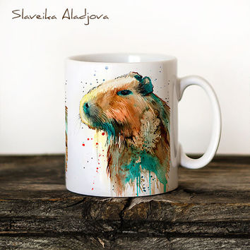 Capybara Mug Watercolor Ceramic Mug Unique Gift Coffee Mug Animal Mug Tea Cup Art Illustration Cool Kitchen Art Printed mug