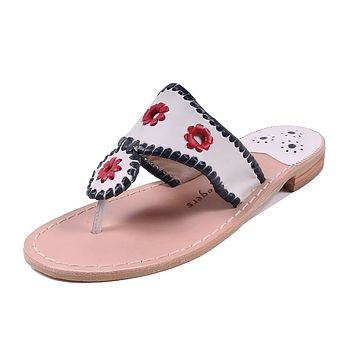 Patriotic Jack Sandal in White, Navy & Red by Jack Rogers