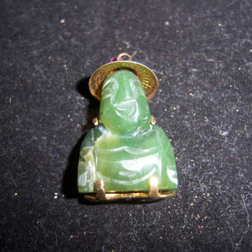 Awesome JADE Pendant Hand Carved BUDDHA with GOLD Accent and Kanji