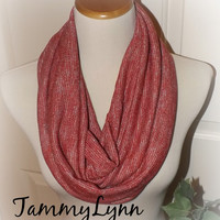 NEW!! Red Heather Sparkle LONG Hacci Sweater Knit Infinity Scarf Ready to Ship Women's Accessories