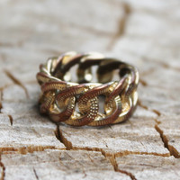 Vintage Chunky Gold Linked Loop Ring