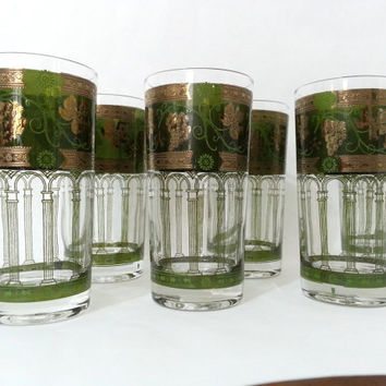 Vintage Golden Grape Tumblers - Grape Vine Drinking Glasses - Gold Green Highball Glasses - Green Tom Collins Glasses Set of 6