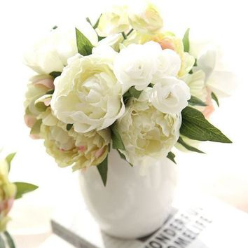 CREYONHS 8 Peony Flowers Head Bouquet Artificial Peony Silk Flowers Fake Leaf Home and Wedding Party Decoration