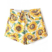 LUCLUC Yellow Sunflower Printed Denim Shorts - LUCLUC