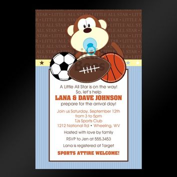 Jungle Sports Printable Baby Shower Invitation Digital File
