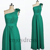 Custom Green One Shoulder Long Prom Dresses Bridesmaid Dresses 2014 Fashion Wedding Party Dress Simple Party Dress Simple Evening Gowns