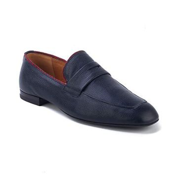 bcce6a22305 Gucci Men s Pebbled Leather Penny Loafer Shoes Navy