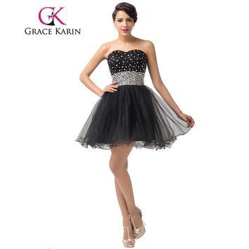Grace Karin Short Prom Dresses 2017 Elegant Tulle Sweetheart Beading Sequined Sexy Cute Black Robe De Cocktail Prom Gowns