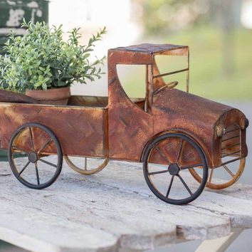 Rusty Pickup Truck Planter Decorative Garden Plant Holder Display Accent Decor