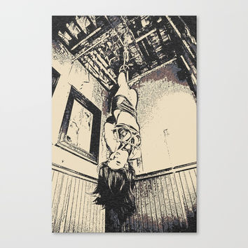 Art of Bondage - hanging like a sweet fuck toy, brunette in hard BDSM, enslaved girl, nude conte Canvas Print by Peter Reiss