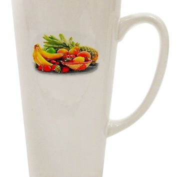 Watercolor Fruit Bowl 1 16 Ounce Conical Latte Coffee Mug