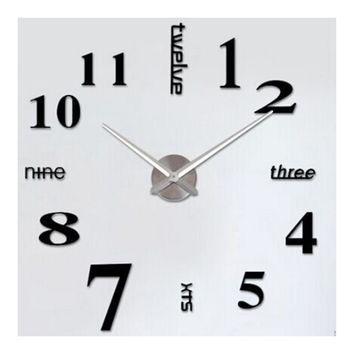 Creative Wall Clock Simple Silent DIY Mirror    black with silver hand