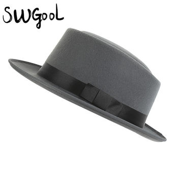 [SWGOOL] unisex fur fedora hat for men women high quality winter hats Solid color and black wool cap Noble hat free shipping