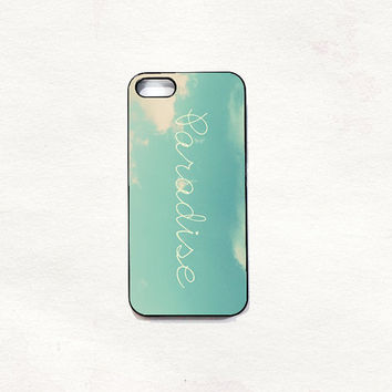 Paradise blue sky iPhone 5 5s 4 4s Hard Case Black/White/Transparent Grunge Indie Hipster vintage Tropical Summer Tumblr One direction 5sos