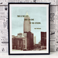 This is the City... Walt Whitman Inspirational Quote Art Print - City Typography series - City Photography - Retro Typographical Print