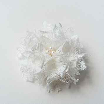 Bridesmaids Hair Accessories Wedding Hair Flower, Bridal Hair Pieces, White Lace Flowers Hair Clips, Fabric Flowers Brides Floral Hairpieces