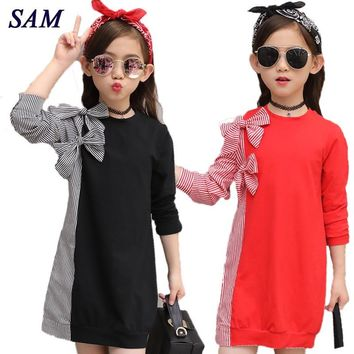 2017 Autumn Fashion Big Girls Dress Children's Bow Tie Stitching Striped Shirt Long Sleeve Dresses Kids Cute Clothes