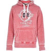 River Island MensRed Tokyo Laundry distressed logo hoodie