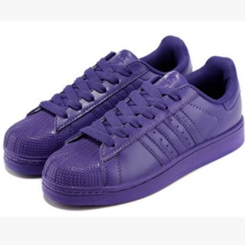 "Fashion ""Adidas"" Shell-toe Flats Sneakers Sport Shell-toe Pure color Shoes (7-Color) Purpel"