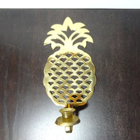 Vintage Brass Pineapple Shaped Wall Sconce Candle Holder