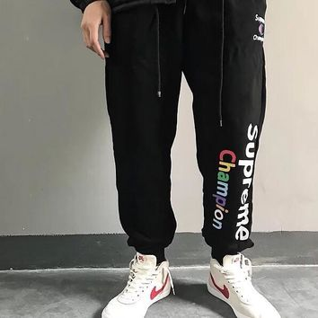 Champion X Supreme Fashion Women Men Casual Print Drawstring Thick Warm Sport Pants Trousers Sweatpants Black