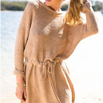 Retro Loose Long Sleeves Solid Color SweatDress