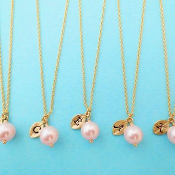 Pink, Pearl, Set of 3,4,5,6,7,8,9,10, Necklace, Baby, Pink, Color, Pearl, Initial, Necklace, Personalized, Bridesmaid, Gift, Bridal, Jewelry