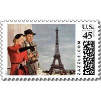 Tourists Traveling Paris Sightseeing Eiffel Tower Stamps