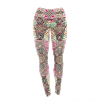 "Danii Pollehn ""Indian Clash"" Pink Multicolor Yoga Leggings"