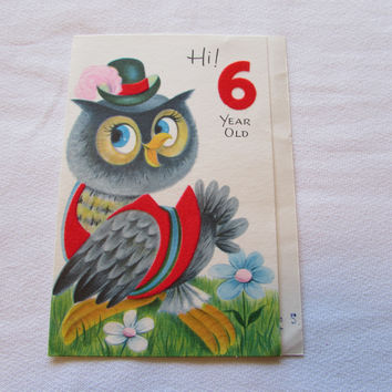 Vintage Owl Birthday Gretting Card 6 Year Old