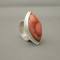 Koi Orange Marquis Cut Drusy Agate and Sterling Silver Cocktail Statement Ring | The Silver Forge Handcrafted Jewellery