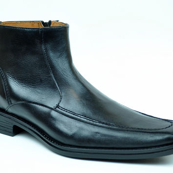 Baronett Men's Dress Ankle Genuine All Leather Boots 7930 Black
