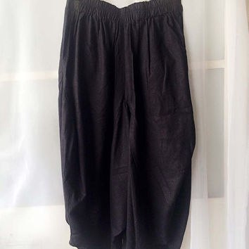Women Black Boho Pants. Linen Boho Trousers. Wide Leg Boho pants, Linen Harem Pants. Holiday Free Style.  Wide Leg Pants. Gypsy Clothing.