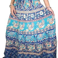 Womans Long Skirts Blue Gypsy Broomstick Maxi Skirt Boho Hippie Maxi