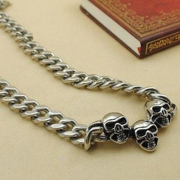 Punk three head skulls necklaces gothic stainless steel metal chains